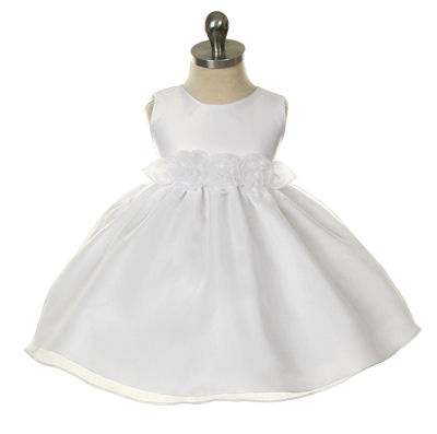 white christening dress in organza with roses