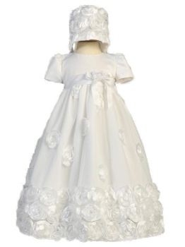 Clarice White Christening gown with Satin Flowers