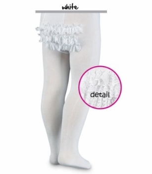Lace frilled bottom tights in white or ivory 0-18m - Pex