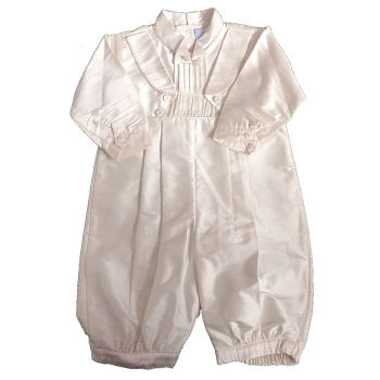 Ivory Silk Boys Long Sleeved Romper Suit