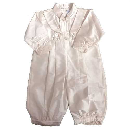 bf6751b05267 Ivory Silk Boys Long Sleeved Christening Romper Suit Pretty Originals