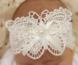 Ivory Vintage Lace Butterfly Baby Stretch Headband with Pearl Centre - PLT10i