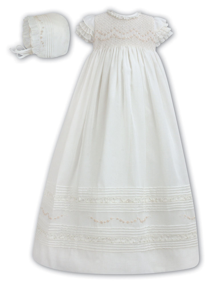 Ivory Smocked Voile Christening Gown & Bonnet by Sarah Louise 190