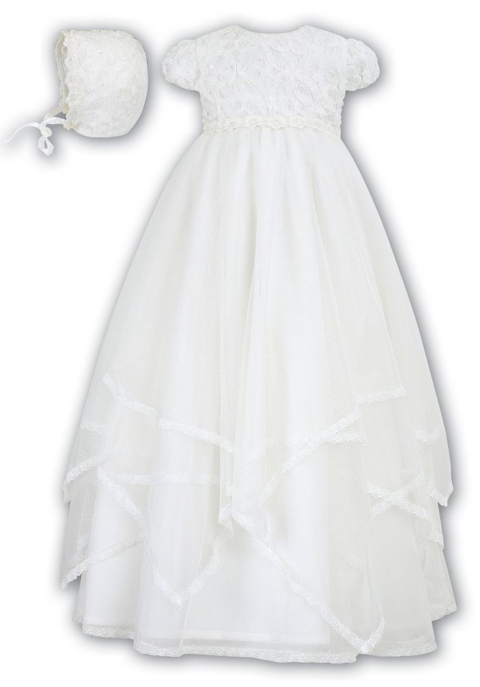 Ivory or White floral appliqué Christening Gown by Sarah Louise 093 85c60feceb