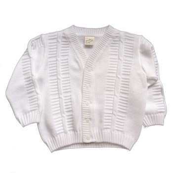 Boys Cotton Cardigan in White & Ivory by Pretty Originals