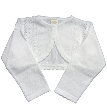 Cotton Cardigan with Beading & Ribbon in White or Ivory