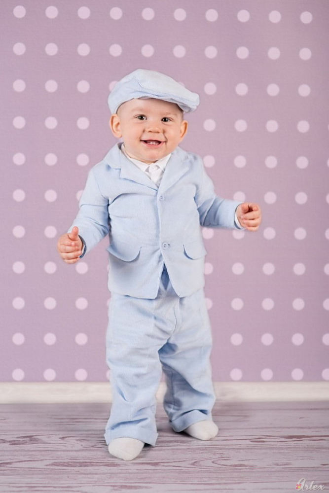 Suit for baby boy christening in light blue cord bee051223