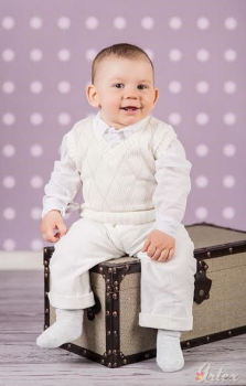 Boy's Argyle Cream & Beige Christening Outfit