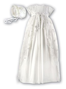 Ivory Silk embroidered Christening Gown & bonnet by Sarah Louise 1133