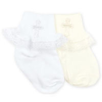 IVORY Girls Christening Socks with embroidered Cross