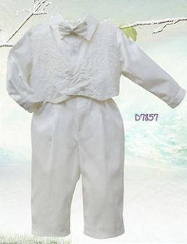 Satin Four Piece Christening Suit for Toddler Boys