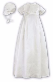 Ivory short sleeved Boys Christening Gown & Bonnet 88