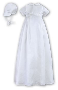 White short sleeved Boys Christening Gown & Bonnet SL088