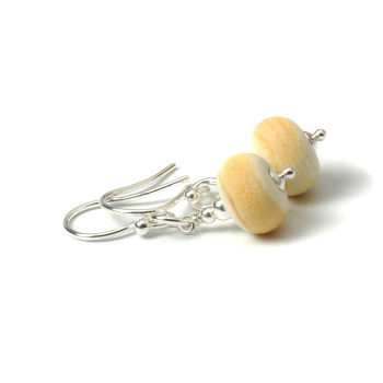 Coast Lampwork Glass Earrings in Ivory Sand