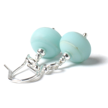 Coast Lampwork Glass Earrings in Beach Blue