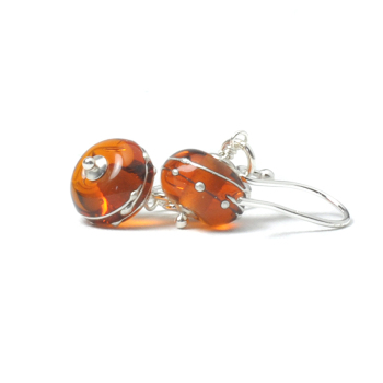 Simplicity Collection Lampwork Glass Earrings in Amber