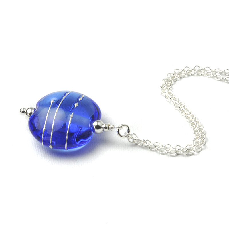 Simplicity Collection Mid Blue Lampwork Glass Necklace