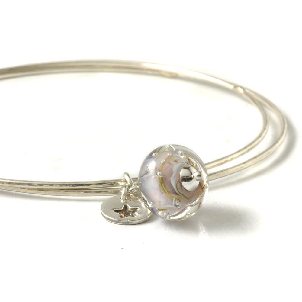 Sterling Silver Charm Bangles | Lampwork Glass Jewellery