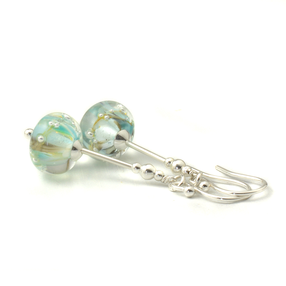 Pale Blue Lampwork Glass and Silver Earrings
