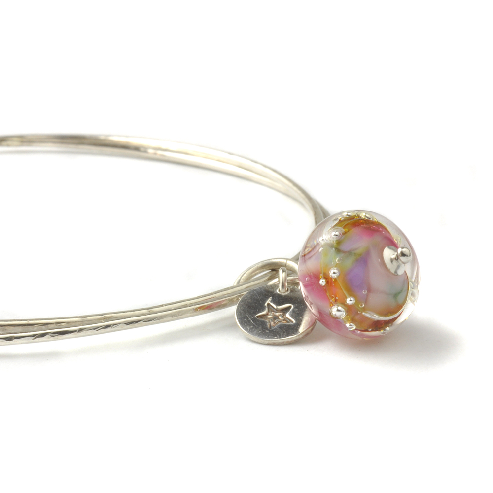 Lampwork Glass Charm Bangles in Sterling Silver