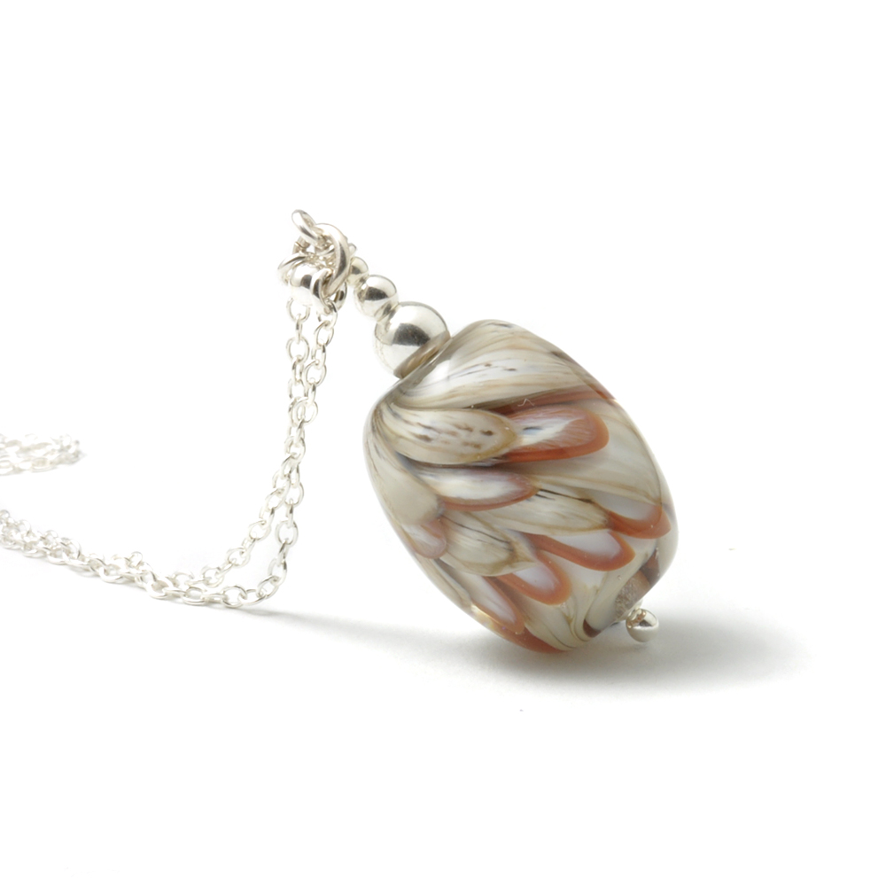 Feathers Pendant Style Lampwork Glass Necklace
