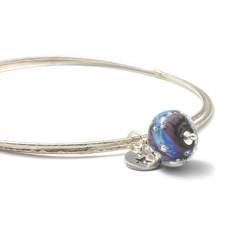 Violet Star Charm Bangles in Sterling Silver