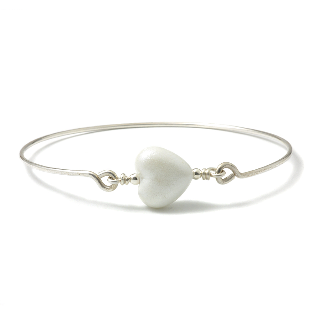 Beaded White Heart Bangle | Handmade Jewellery