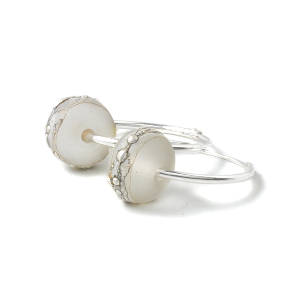 Silvered Glass and Sterling Silver Hoop Earrings