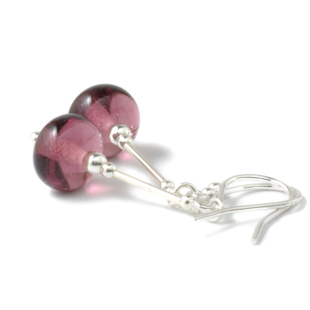 Kir Lampwork Glass and Silver Earrings