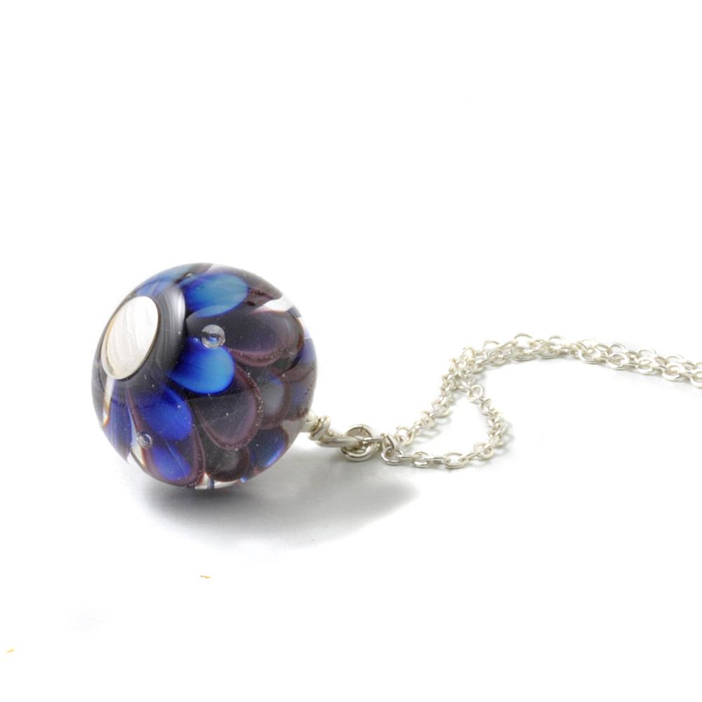 Violet Blue Petal Pendant Style Necklace