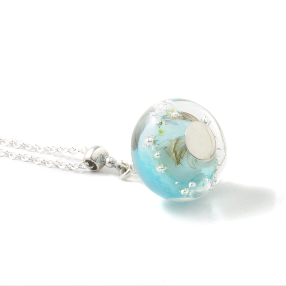 Sky Blue Handmade Glass Necklace