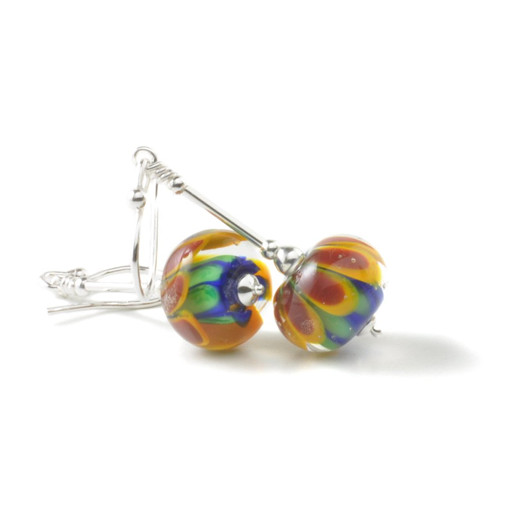 Rainbow Lampwork Glass and Silver Earrings