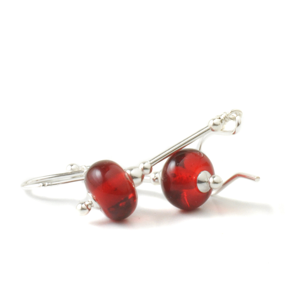 True Red Lampwork Glass and Silver Earrings