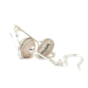 Blush Pink Lampwork Glass Earrings