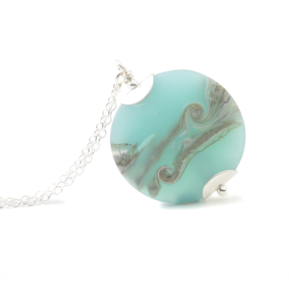 Coast Lampwork Glass Necklace in Beach Blue