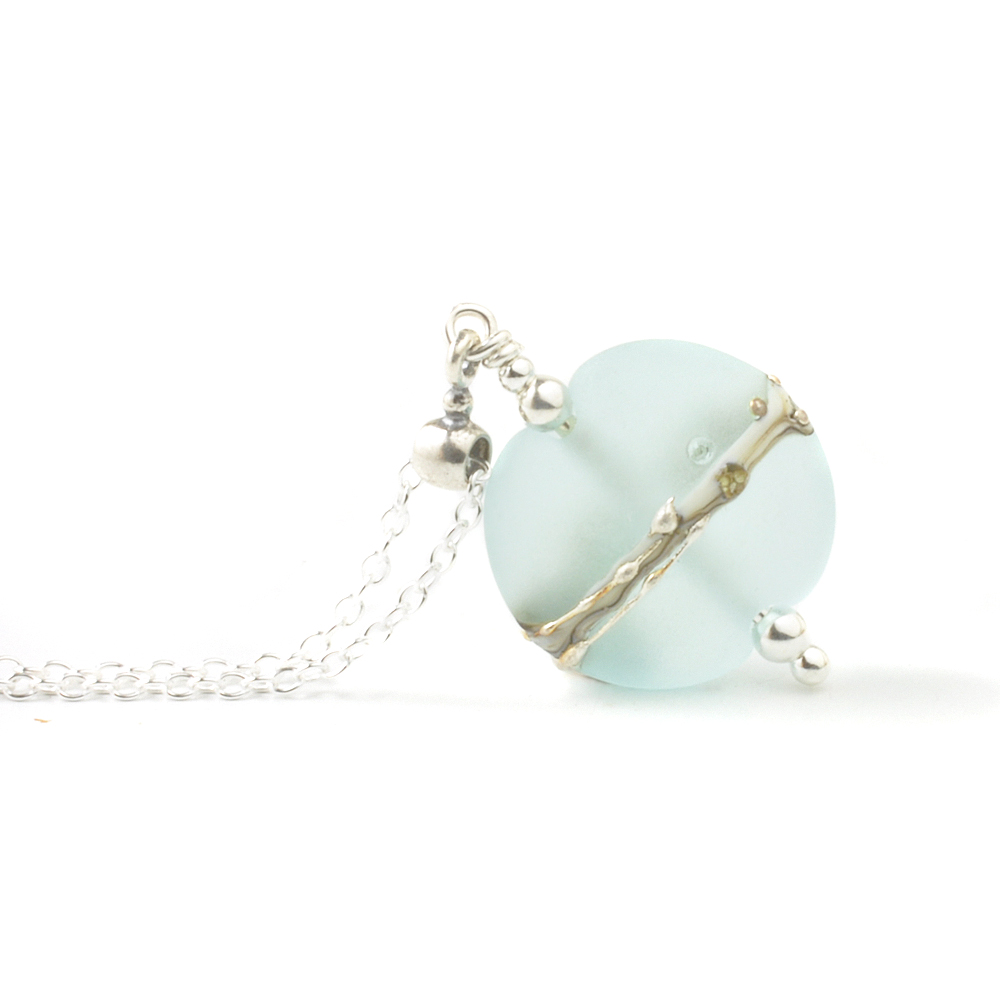 Ice Blue Silvered Glass Necklace