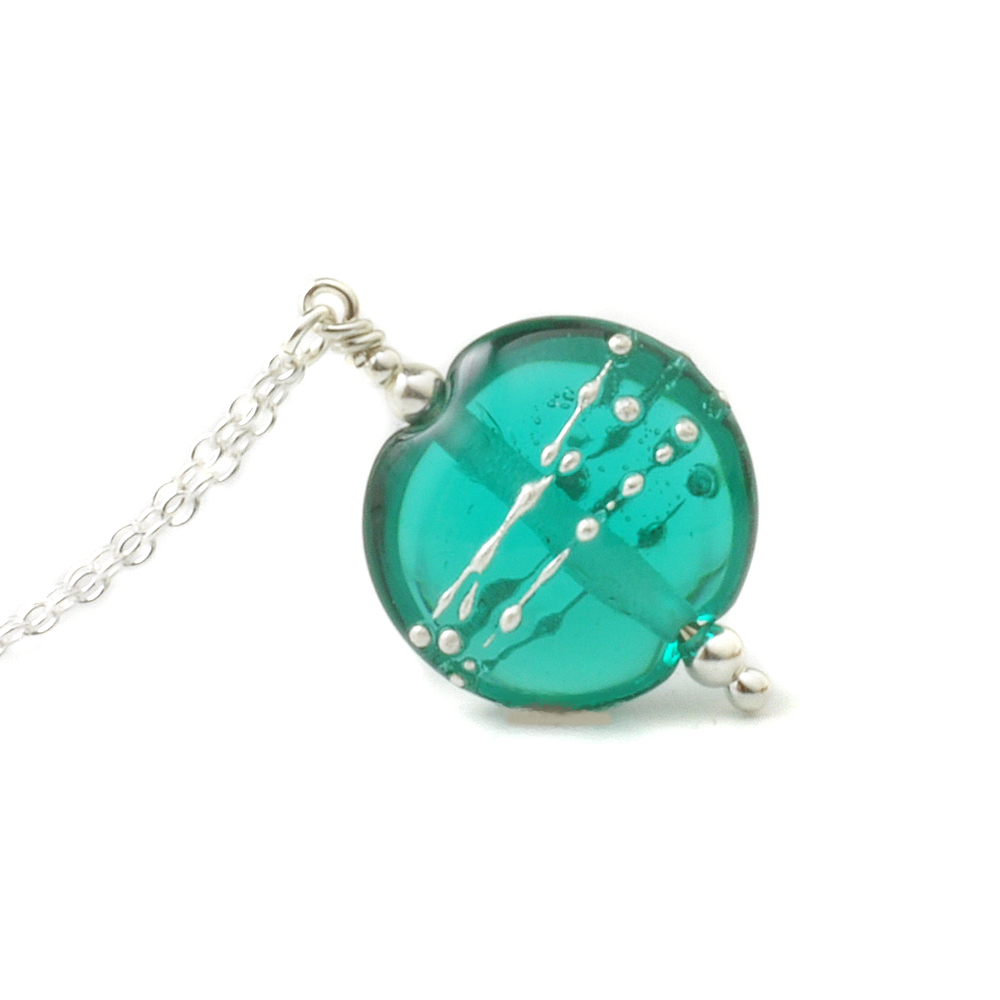 Teal Necklace in Lampwork Glass and Sterling Silver