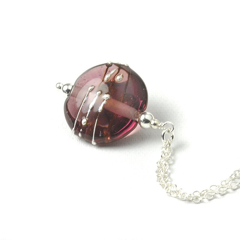 Simplicity Collection Amethyst Lampwork Glass Necklace