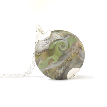 Olive Grey Glass Necklace