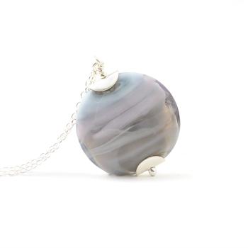 Lavender Grey Glass Necklace