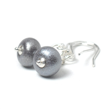 Pewter Lampwork Glass Earrings