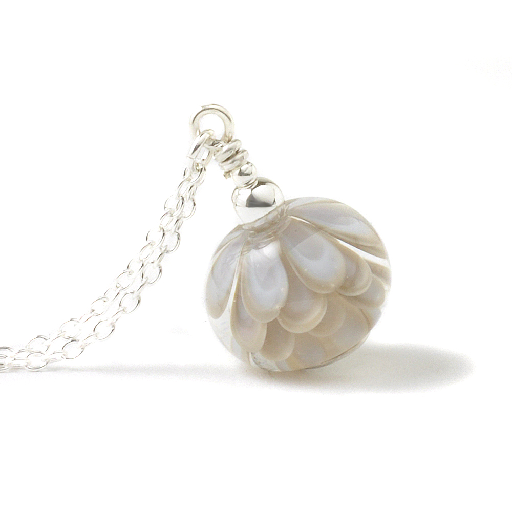 Pale Lavender Grey Glass Petal Necklace