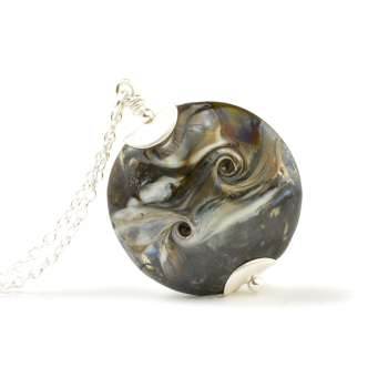 Molten Metal Lampwork Glass Necklace