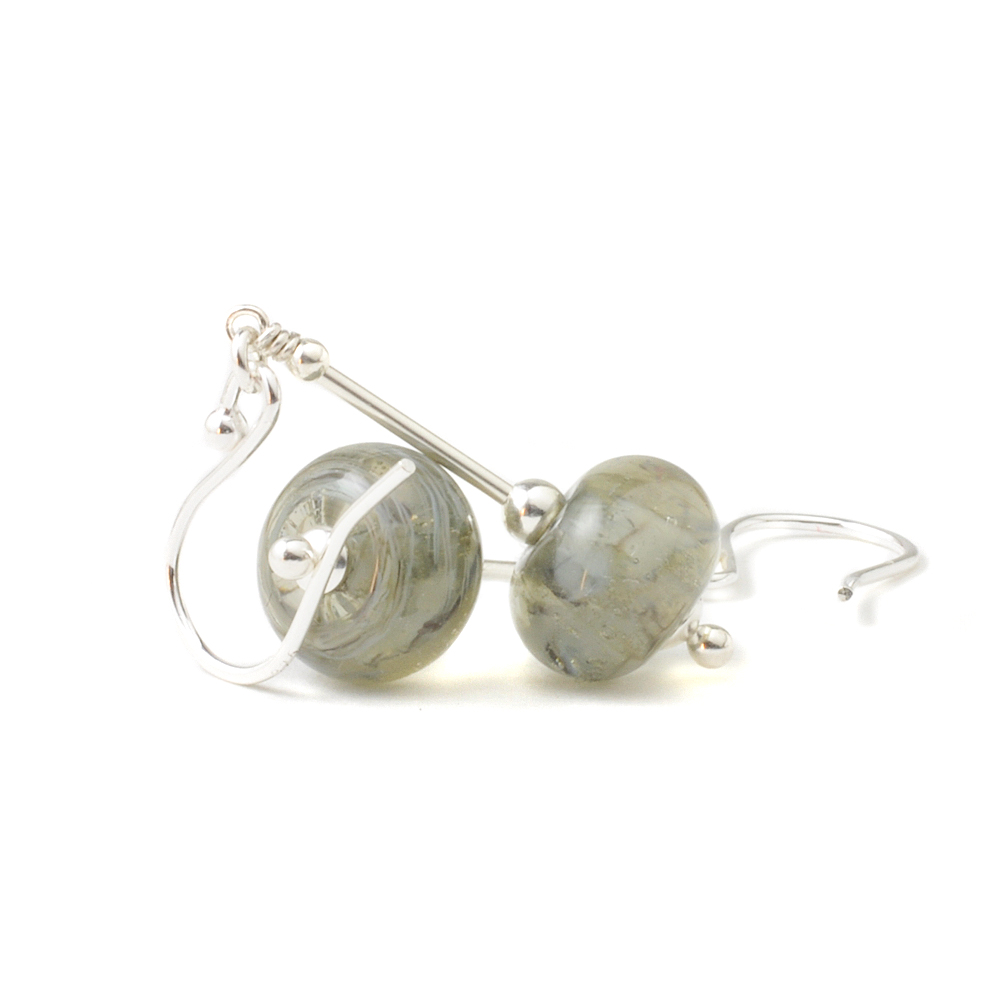 Stormy Grey Lampwork Glass Earrings UK Jewellery