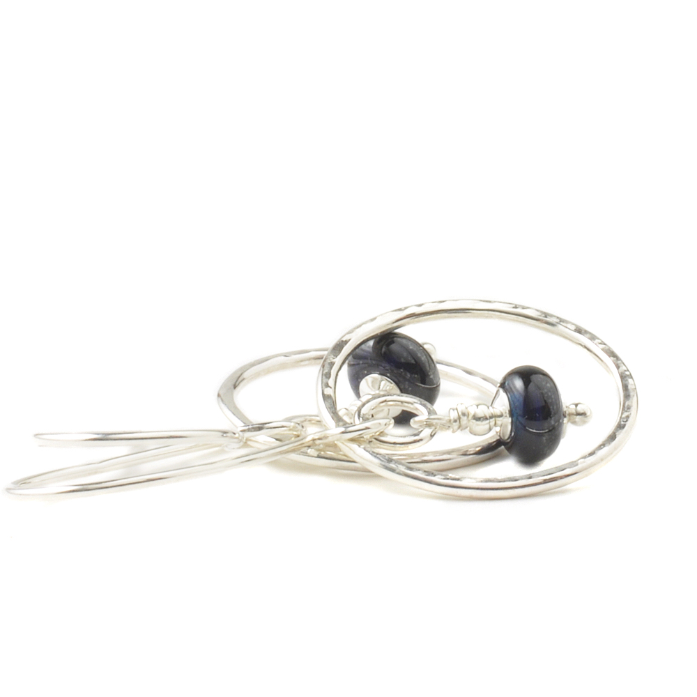 Dark Ink Hammered Silver Hoop Earrings