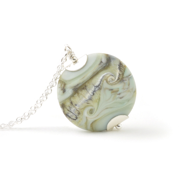 Coast Lampwork Glass Necklace in Pale Green
