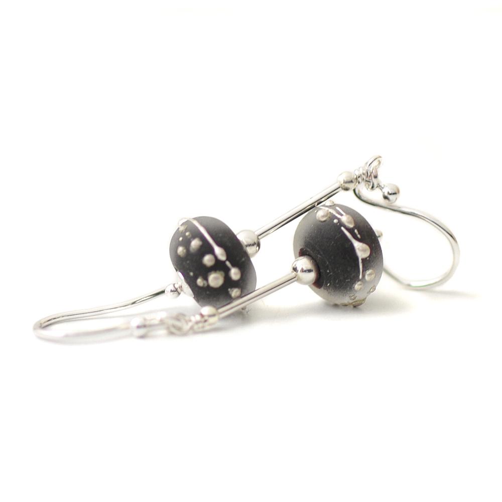 Black Ice Lampwork Glass Drop Earrings