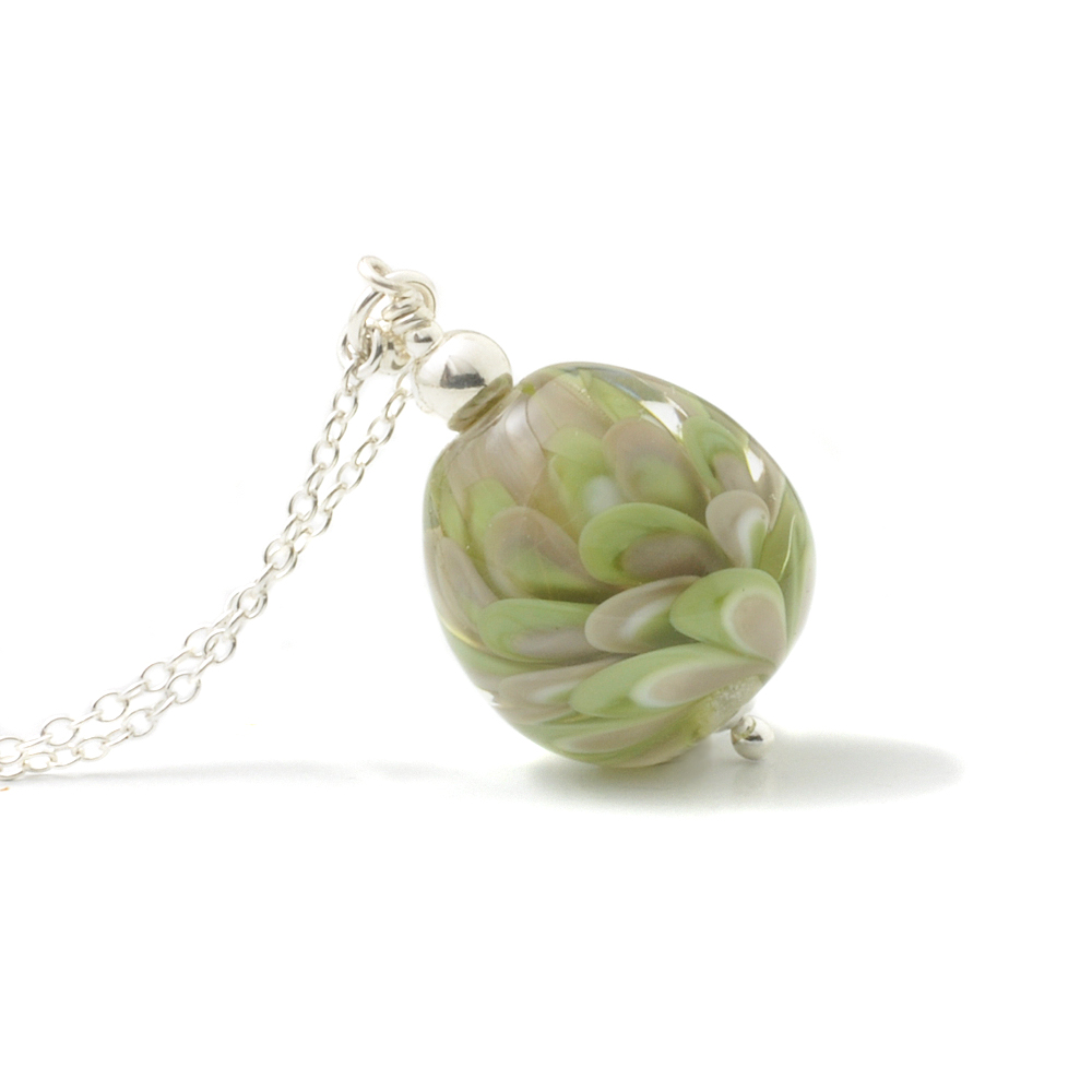 Olive Green and Grey Egg Necklace