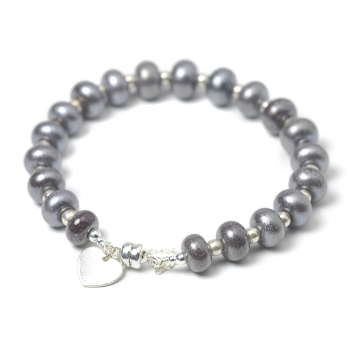 Pewter Beaded Glass Bracelet
