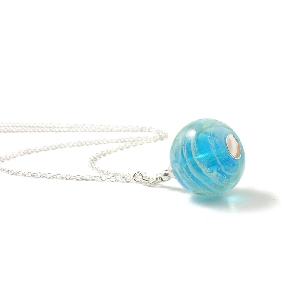 Whirlpool Long Glass Pendant Necklace